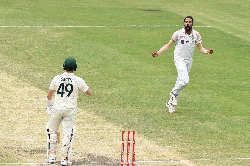 Mohammed Siraj after dismissing Steve Smith in Australia