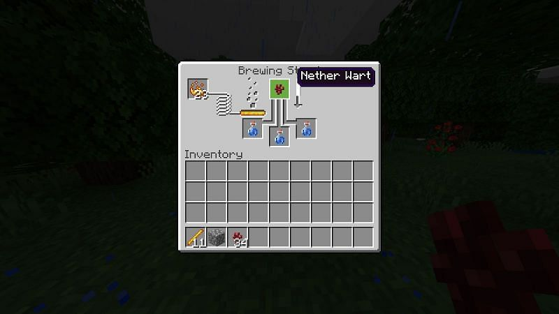 Placing Nether Wart in Brewing  Stand UI in Minecraft