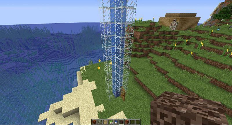 Step 9 to make water elevator in Minecraft