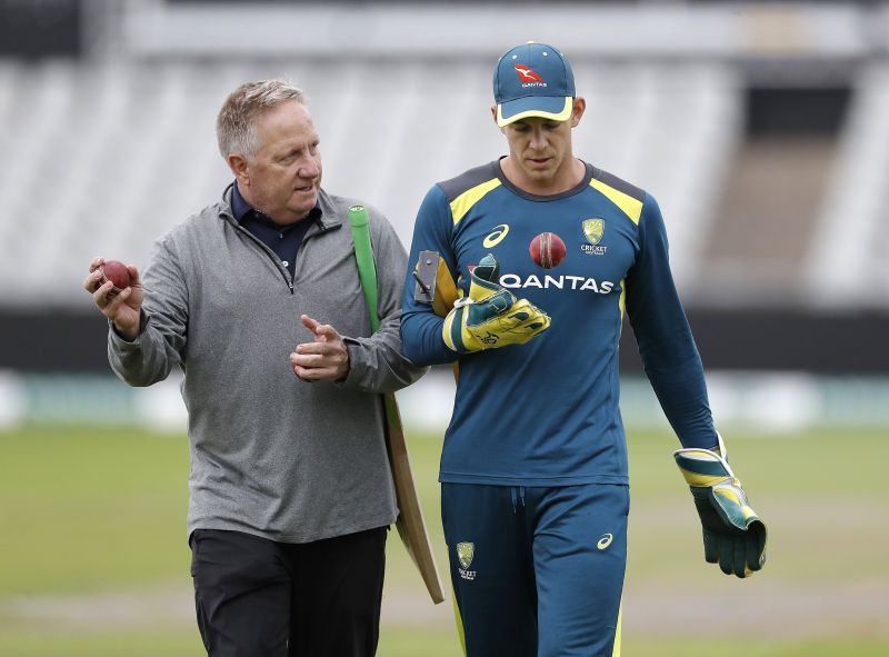 Ian Healy with Tim Paine (right)