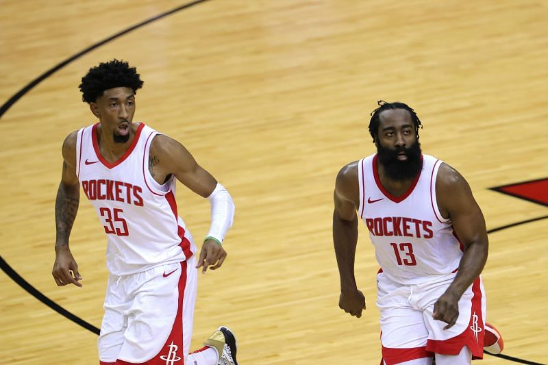 James Harden with teammate Christian Wood