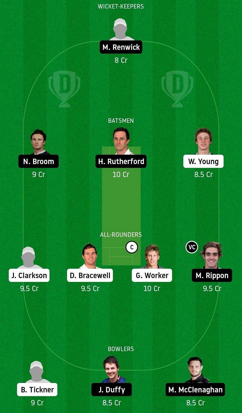 Dream11 Team for Central Stags vs Otago Volts - Super Smash T20.
