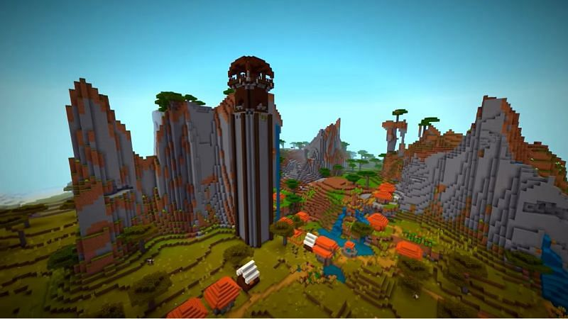 Minecraft seed with an incredibly tall Pillager Outpost inside of a village. (Image via Minecraft & Chill/YouTube)