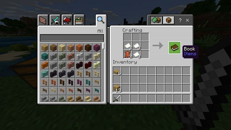 Crafting book in Minecraft