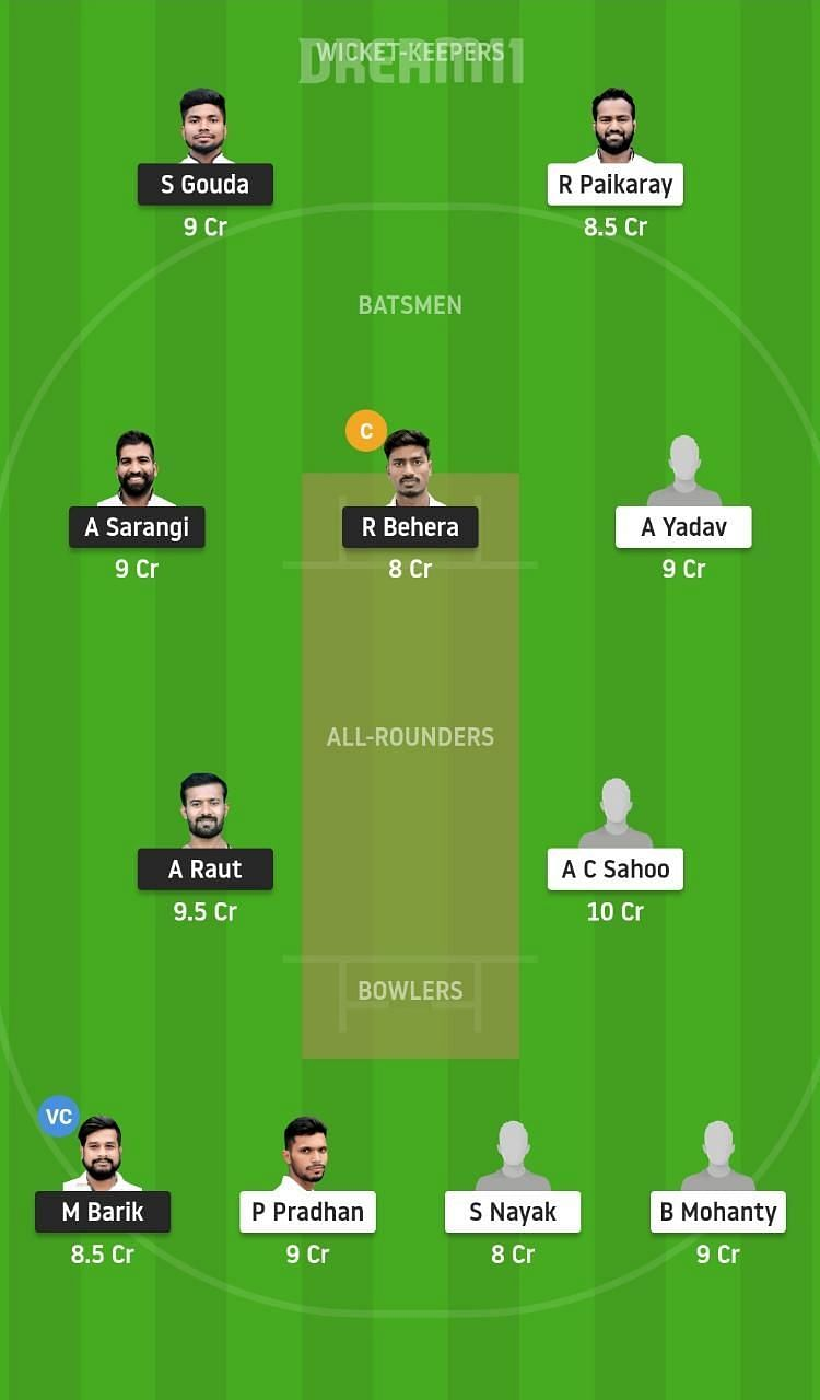 Dream11 Tips for ODC vs OPA match at the Odisha Cricket League