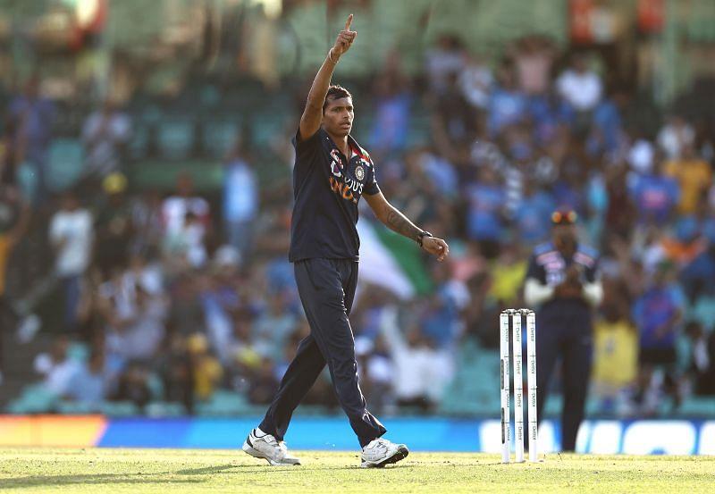 Navdeep Saini in action against Australia in the 1st ODI