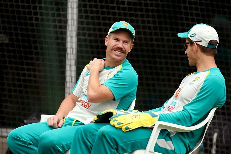 David Warner and Tim Paine during Australia's net session at the SCG