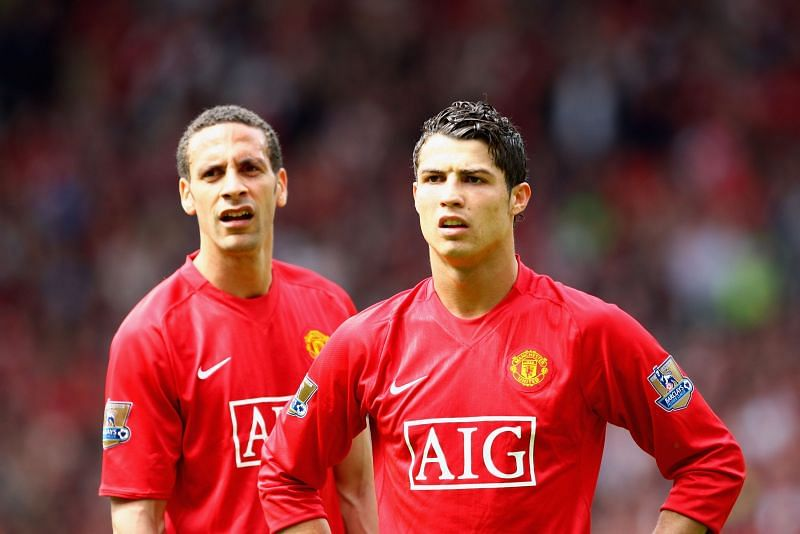 Cristiano Ronaldo and Ferdinand in action