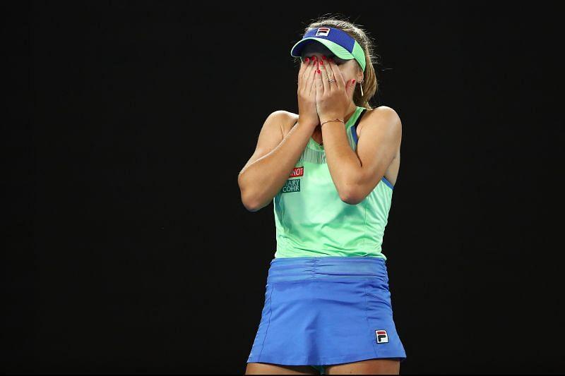 Sofia Kenin reacts after winning the 2020 Australian Open