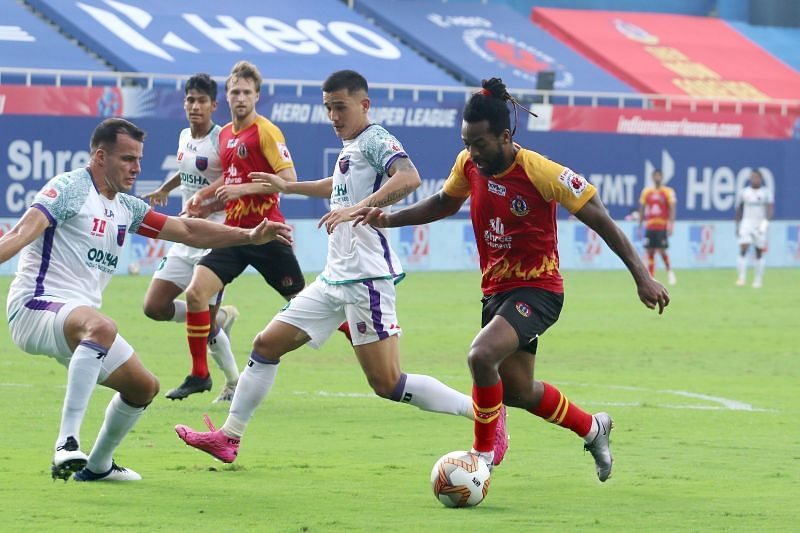 Jacques Maghoma in action for SC East Bengal against Odisha FC (Image Courtesy: ISL Media)