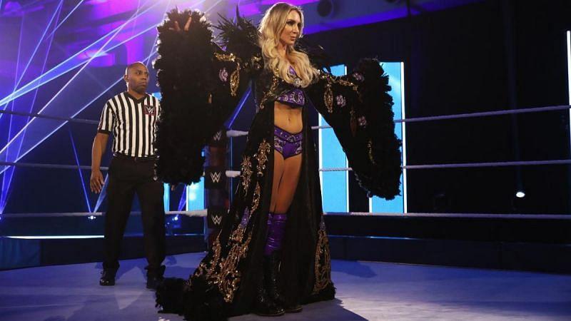 Charlotte Flair before her WrestleMania 36 match against Rhea Ripley