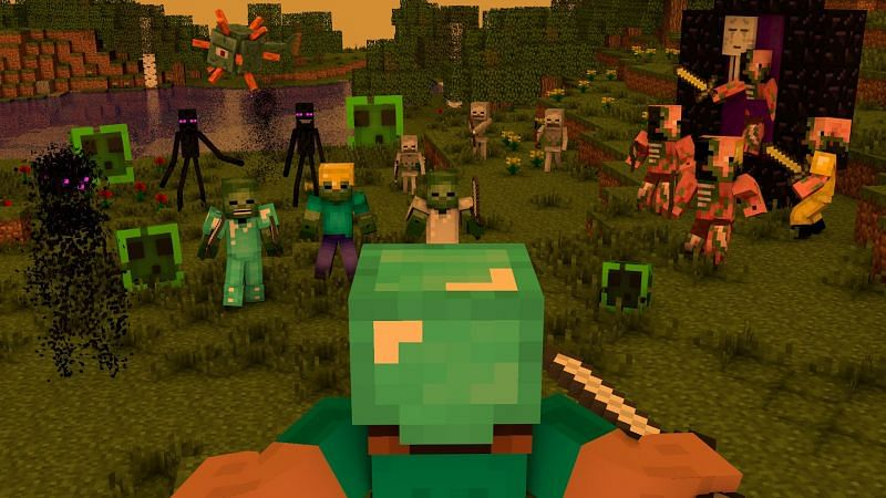 Steve surrounded by an assortment of hostile mobs that can found in Minecraft (Image via wall.alphacoders.com)