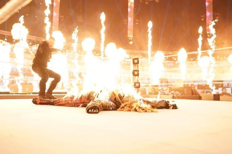 Randy Orton set fire to The Fiend at WWE TLC