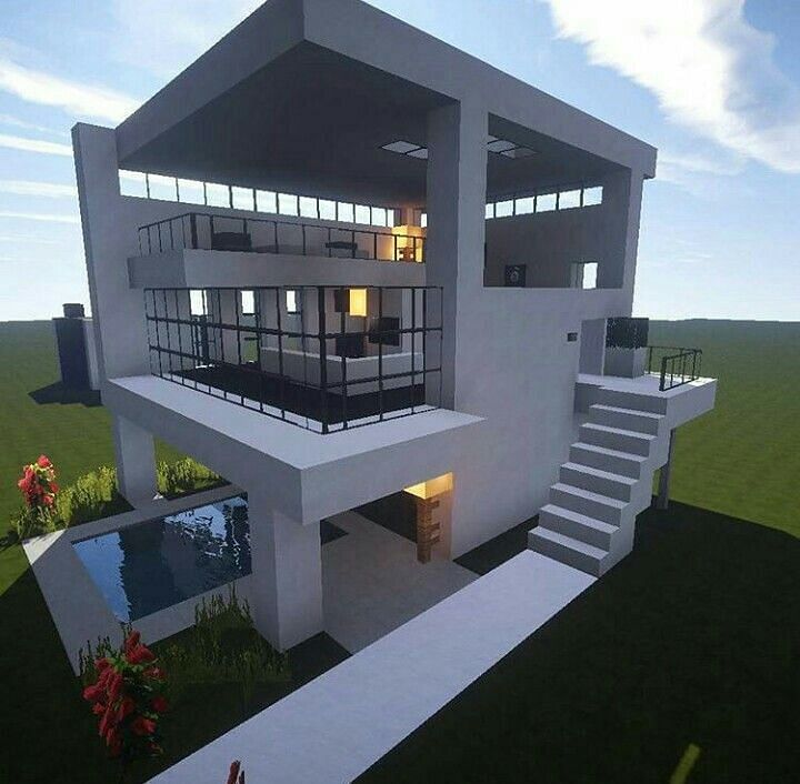 A Minecraft house utilizing glass blocks in its design