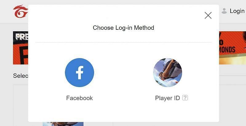 Log in via either of the methods