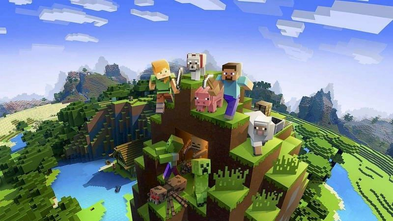 A Minecraft wallpaper that features Steve and other various mobs from the game. (Image via msn.com)