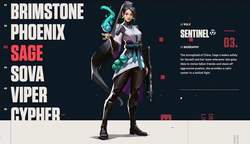 Sage the sentinel image screen captured from playvalorant.com