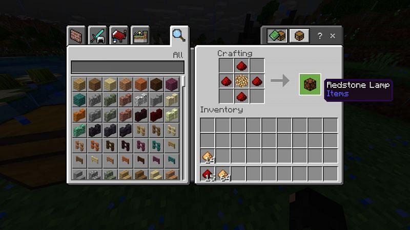 Crafting Redstone Lamp in Minecraft