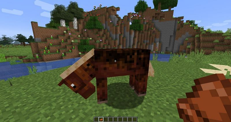 Putting Saddle on a Horse in Minecraft : Image 1