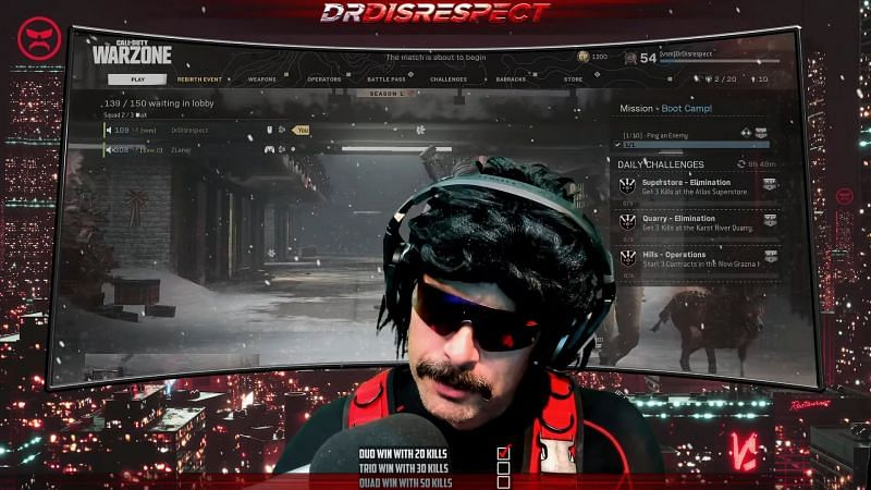The Doc insinuates that there may be another reason for the ban (Image via Dr Disrespect)
