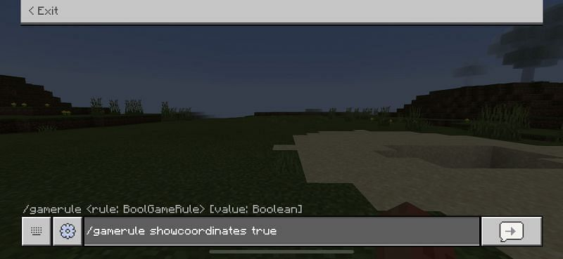 The command to enable coordinates to be shown in Minecraft Bedrock Edition. (Image via Minecraft)