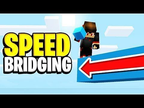 Speedbridging in Minecraft is a way to bridge large gaps between islands or players using the sneak key (Image via Minecraftvideos.tv)