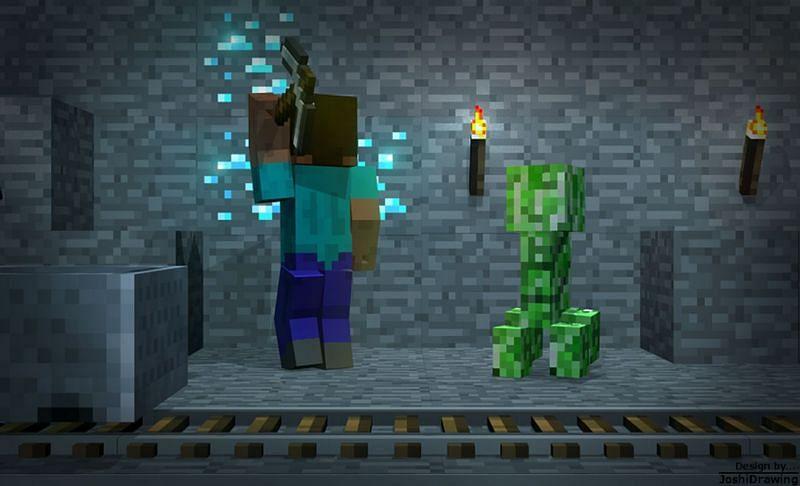 Steve mining diamond ore near a creeper in Minecraft. (Image via JoshiDrawing/deviantart.com)