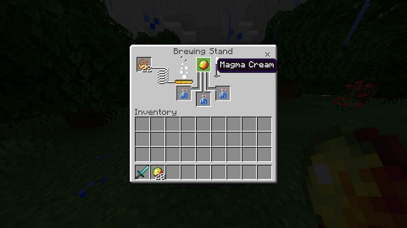 After you have your awkward potions leave them in the slots below and add a magma cream to the top
