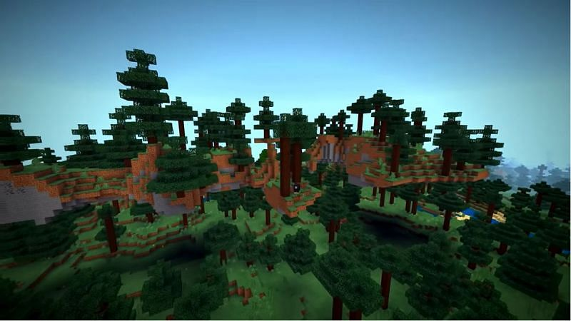 A collection of floating island in a taiga biome in Minecraft (Image via Minecraft & Chill/YouTube)