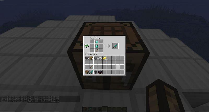 Crafting Diamond Sword in Minecraft