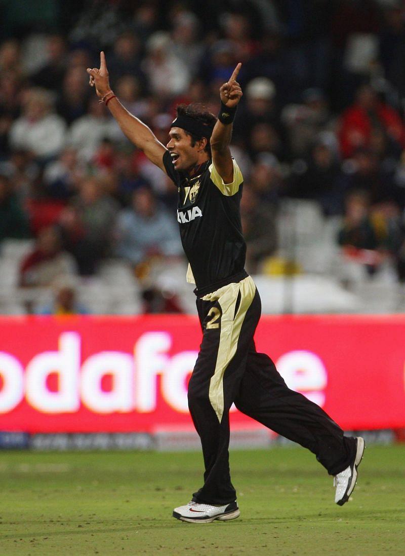 Ashok Dinda celebrates a wicket during IPL.