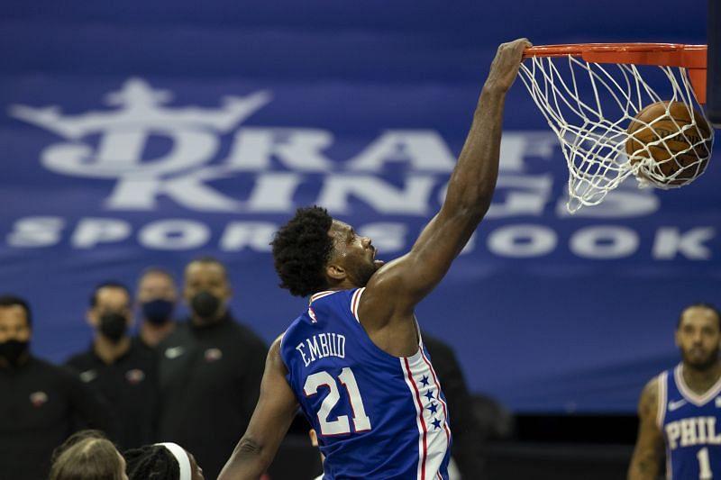 Joel Embiid #21 of the Philadelphia 76ers dunks the ball