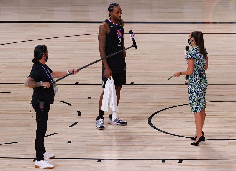 Kawhi Leonard of the LA Clippers talks during a television interview after the Clippers beat the Dallas Mavericks (Photo by Kevin C. Cox/Getty Images)
