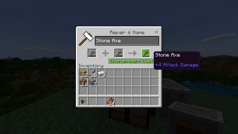 Repairing your stone axe in Minecraft