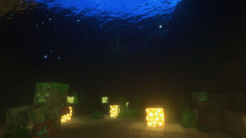 Two damp Drowneds dozing off under the deep dark sea. (Image via Minecraft)