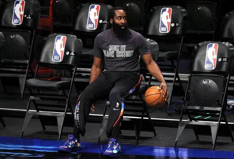 """James Harden of the Brooklyn Nets wears a shirt that reads """"Built by Black History"""" during warmups."""