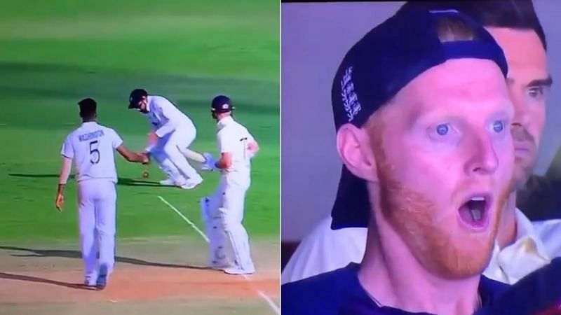 Ben Stokes (R) shocked as Rohit Sharma drops a simple catch