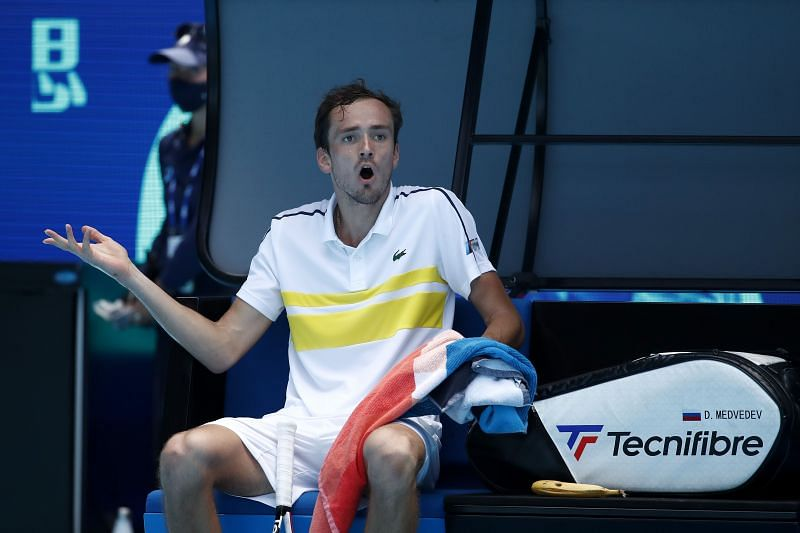 Daniil Medvedev during third-round match against Filip Krajinovic at the 2021 Australian Open