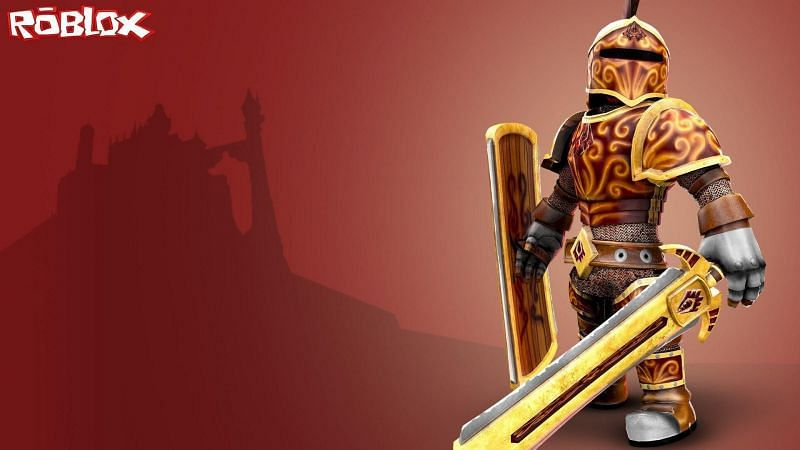 A soldier fully equipped with a sword, armor and a shield on Roblox (Image via wallpapercave.com)