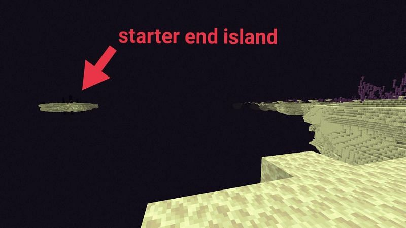 The distance between the main island and outer islands in Minecraft. (Image via u/chnapik/reddit.com)