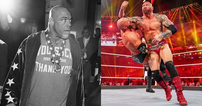 Kurt Angle, Triple H, and Batista.