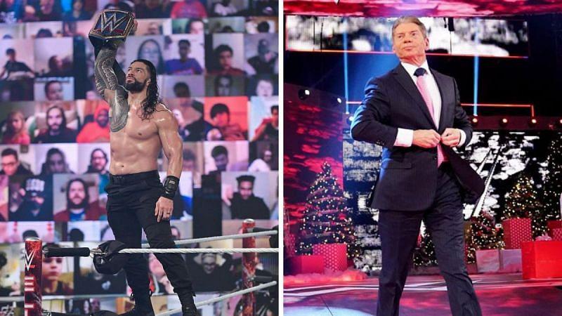 Roman Reigns (left); Vince McMahon (right)