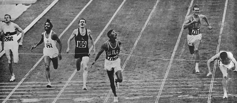 Milkha Singh (second from left) at the 1960 Rome Olympics