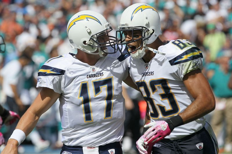 Former teammates Philip Rivers and Vincent Jackson celebrate together