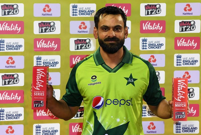 Mohammed Hafeez shows off his individual awards in England.