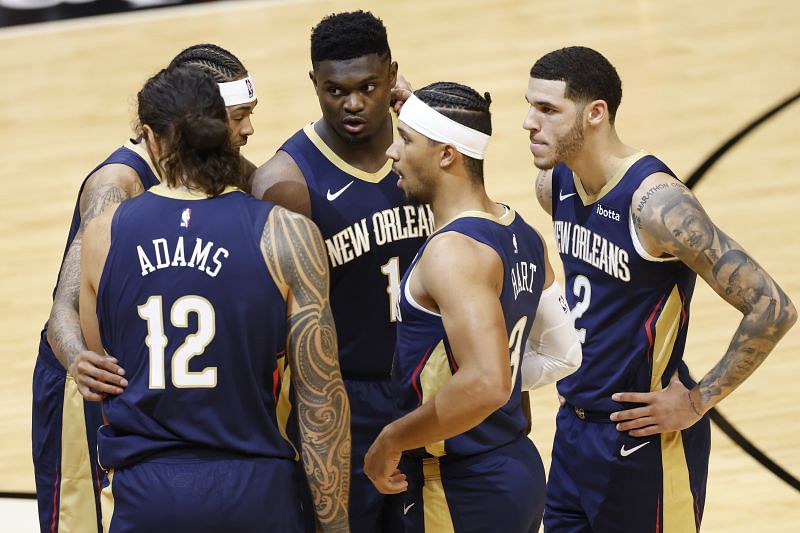 Brandon Ingram, Zion Williamson, Josh Hart and Lonzo Ball of the New Orleans Pelicans (Photo by Michael Reaves/Getty Images)