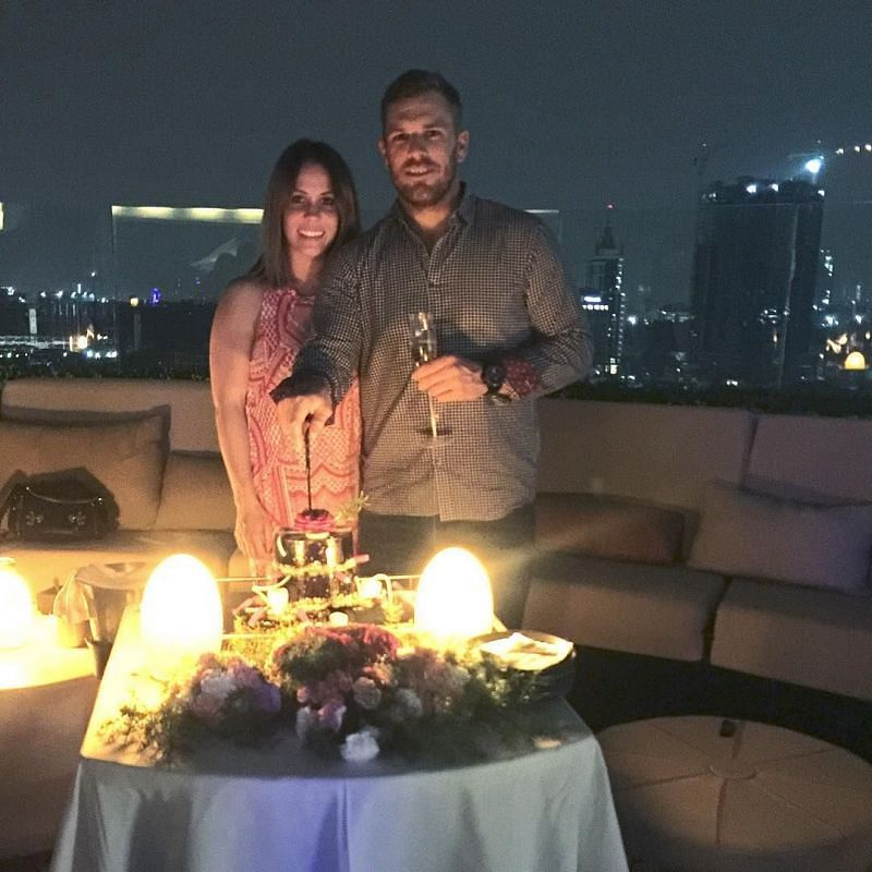 Aaron Finch with his wife