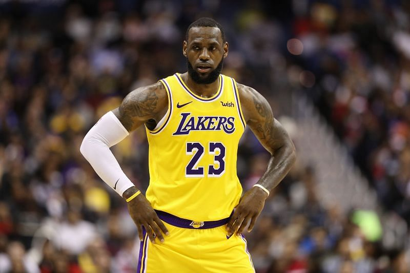LeBron James #23 of the LA Lakers in action against the Washington Wizards at Capital One Arena on December 16, 2018