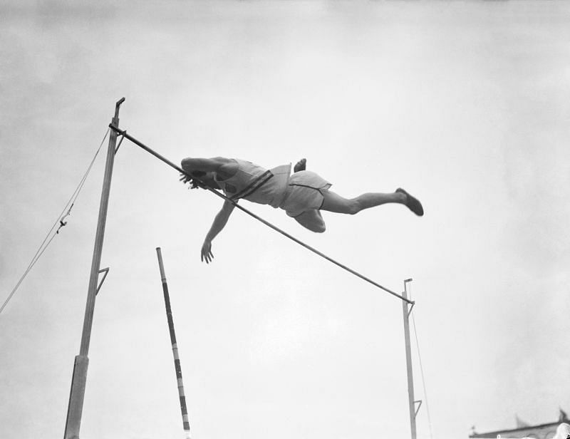 American pole vaulter Bob Richards in action at the London Olympics 1948.
