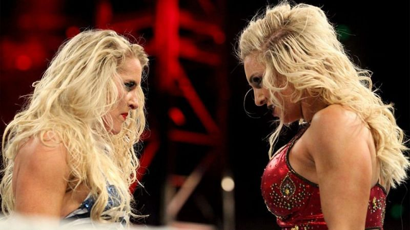 Lacey Evans and Charlotte Flair on WWE RAW